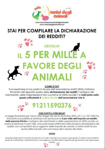 5 per mille a associazione amici degli animali